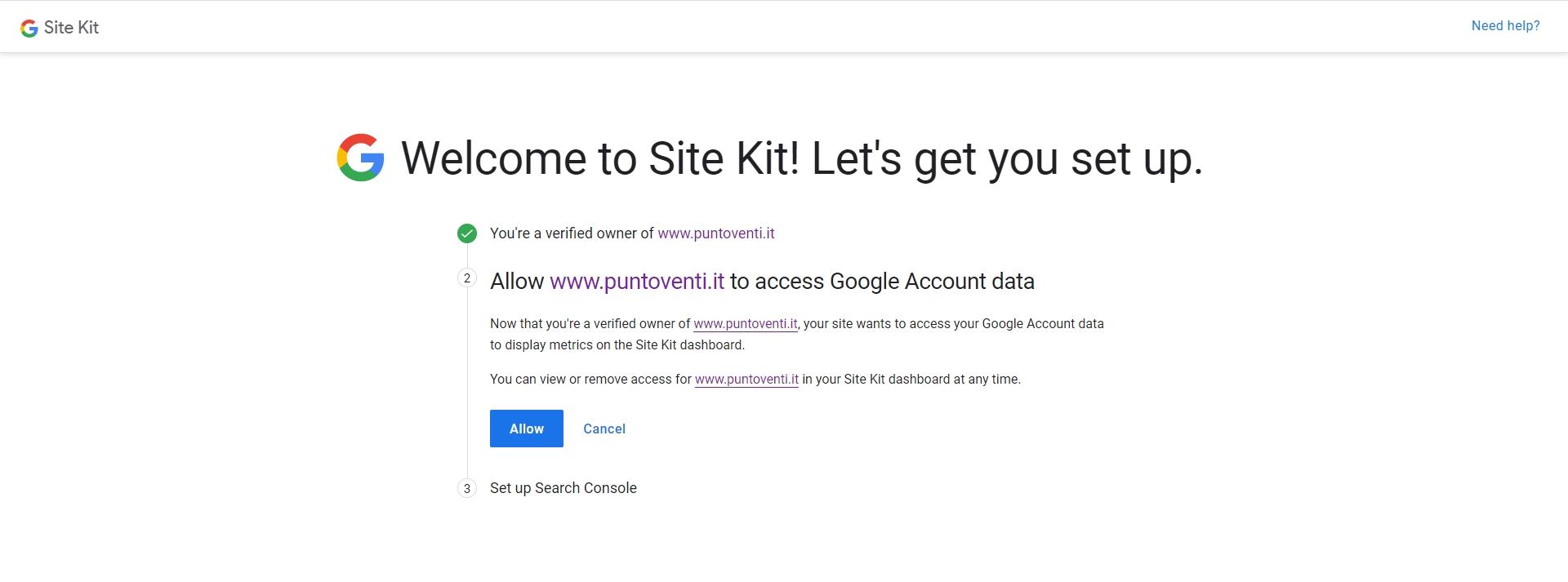 Configurazione Google Site kit per WordPress