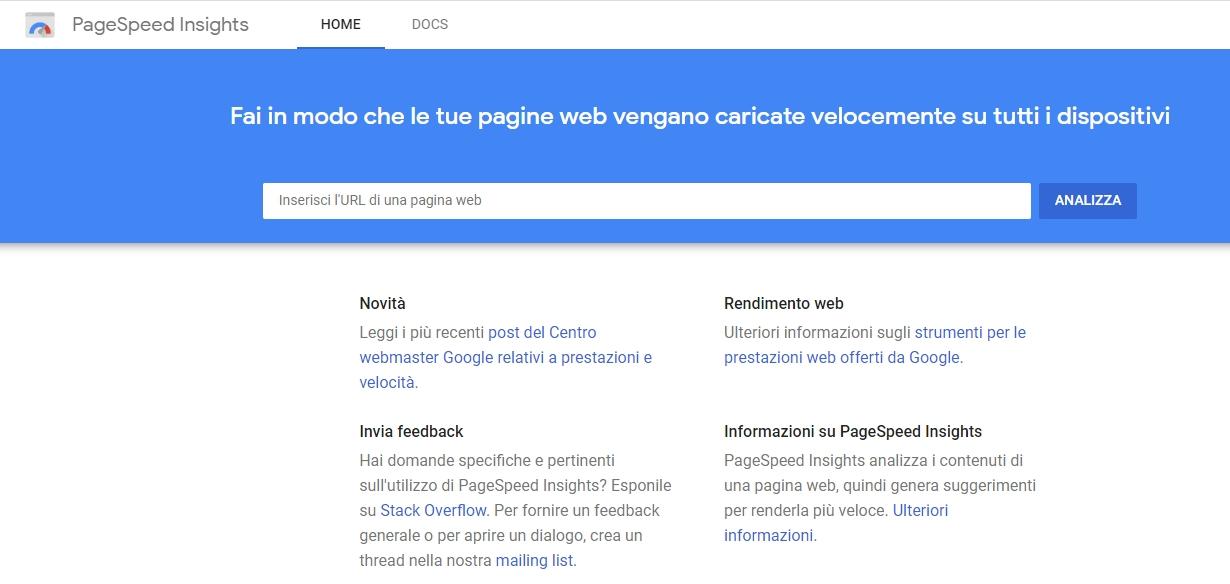 Google PageSpeed Insight schermata principale